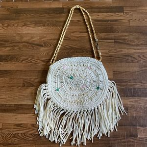 Vintage Woven and Beaded Round Fringe Bag
